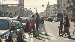 People Walking On Zebra Crossing - stock footage
