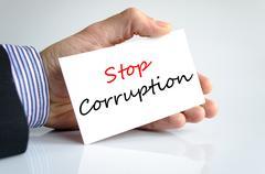Stop corruption text concept Stock Photos