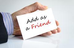 Add as a friend text concept Stock Photos