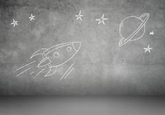 Cartoon space rocket - stock photo