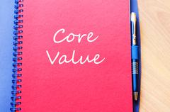 Core value write on notebook - stock photo