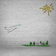 Cartoon of airplane - stock photo
