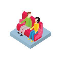 Couple on Bench Isometric Design Stock Illustration