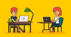 People Work in Office Design Flat - stock illustration