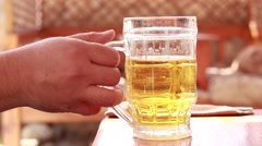 Man drinking beer - stock footage