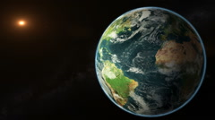Planet Earth rotates in space - stock footage