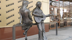 Monument To Vladimir Vysotsky and Marina Vlady in Yekaterinburg Stock Footage