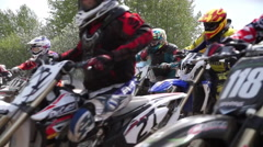 Motocross on the starting line Stock Footage