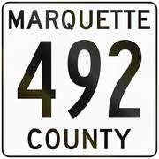 Image of a Michigan county route shield - Marquette county Stock Illustration