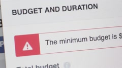 Setting budget and duration of marketing campaign Stock Footage