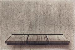 Composite image of wooden shelf - stock illustration
