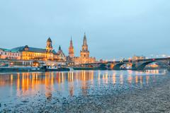 Stock Photo of Dresden. The building of the Hofkirche at night