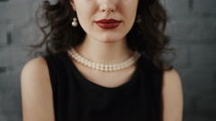 Beauty fashion girl portrait. Beauty brunette model Stock Footage