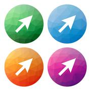 Set  of 4 isolated modern low polygonal buttons - icons - for cursor (pointer - stock illustration