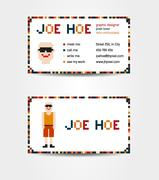 Two sided business card creative concept with pixel art male body and face - stock illustration