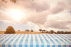 Composite image of part of blue and white tablecloth - stock illustration