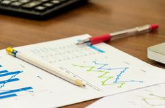 Financial accounting graphs Stock Photos