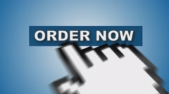 Hand cursor on order now sign Stock Footage
