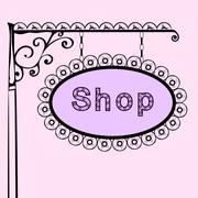 Shop text on vintage street sign Stock Illustration