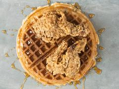 rustic southern american comfort food chicken waffle - stock photo