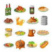Stock Illustration of Oktoberfest Beer Food Flat Icons Set