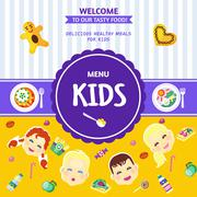 Stock Illustration of Baby Food Menu Flat Poster