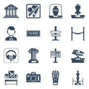 Museum Flat Black Icon Set Stock Illustration