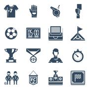 Stock Illustration of Soccer Flat Black Icon Set