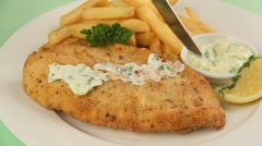 Serving Fried Fish With Tartare Sauce Stock Footage