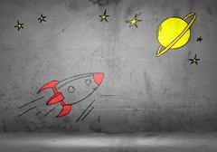 Cartoon space rocket Stock Photos