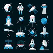 Spacecrafts Instruments Equipment Flat Icons Set - stock illustration