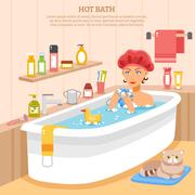 Hot Bath Poster - stock illustration