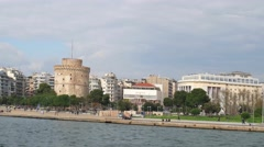 Panorama of city Thessaloniki. Time-lapse photography Stock Footage