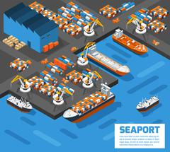 Seaport Isometric Aerial View Poster Stock Illustration