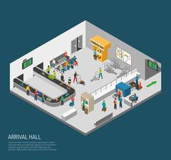 Arrival Hall Airport Poster - stock illustration