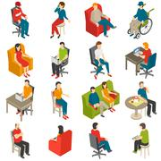 Sitting People Isometric Icon Set Stock Illustration