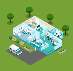 Medical Center Isometric Scheme Icons - stock illustration
