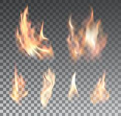 Set of realistic fire flames on transparent background - stock illustration