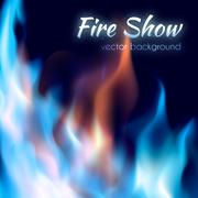 Fire show poster. Abstract red and blue burning fire flames - stock illustration