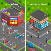 Store Buildings Isometric Vertical Banners - stock illustration