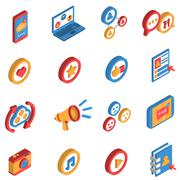 Social Network Isometric Icon Set Piirros