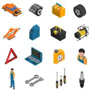 Car Service Isometric Isolated Icon Set - stock illustration