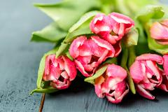 Flowers Bouquet Of Spring Wet Tulips On Table - stock photo