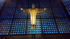 Golden Jesus statue, inside Kaiser Wilhelm Memorial Church, MS, Berlin Stock Footage