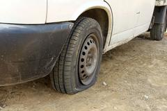 Punctured tires is a frequent defect - stock photo