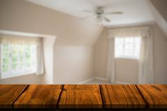 Composite image of wooden table - stock illustration