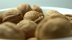 Walnuts in bowl close up - stock footage