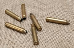 Shells of live ammunition on the background fabric Stock Photos