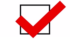 Tick in ballot box, voting and elections animation red Arkistovideo