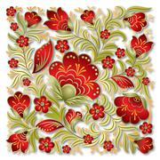 abstract summer floral ornament - stock illustration